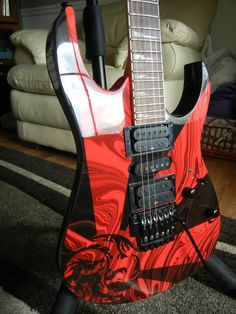 Ibanez RG5EX1 Black and Red Dragon Swirl Swirled Guitar Body Neck