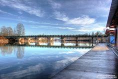 ~Jacob Haldi Bridge~ By Ernie Kasper #bridge   #reflections   #fortlangley   #clouds   #stunning   #beautiful   #peaceful   #langley