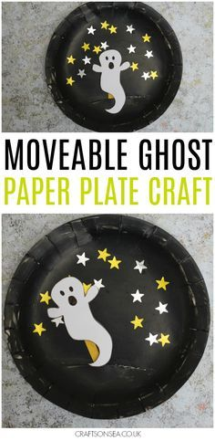 This movable paper plate ghost craft makes a fantastic Halloween kids craft and Halloween ghost craft. Perfect as a Halloween puppet kids can make.