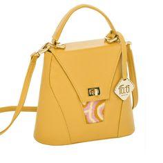 TATI BODUCH Designer Handbag, AGATE Collection, genuine leather: mustard, knitwear: pink