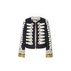 Alix of Bohemia The Stella Jacket (27 280 UAH) ❤ liked on Polyvore featuring outerwear, jackets, embellished military jacket, military inspired jacket, cotton jacket, navy blue jacket and navy military jacket