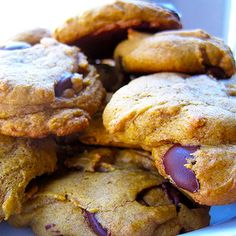Dark Chocolate Chip Pumpkin Cookies - The pumpkin chocolate chip cookie puts a yummy fall twist on the traditional chocolate chip cookie. Substituting coconut oil in place of typical butter, whole wheat pastry flour instead of all-purpose flour, and dark chocolate chips makes these cookies a not-so-guilty dessert! Enjoy with an ice cold glass of milk!