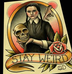 Image of Wednesday Addams Tattoo Flash Art Print by Quyen Dinh