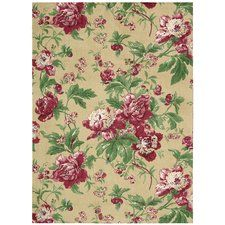 """Artisinal Delight """"Forever Yours"""" Beige/Pink/Green Area Rug"""