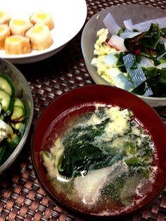 コンニャクサラダ、昆布きゅうり、チーちく - 3件のもぐもぐ - たまごスープ by coppechan