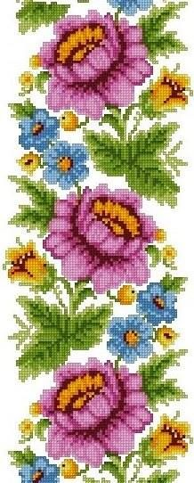 Cross Stitch Borders, Cross Stitch Rose, Cross Stitch Flowers, Cross Stitch Designs, Cross Stitching, Cross Stitch Embroidery, Embroidery Patterns, Hand Embroidery, Cross Stitch Patterns
