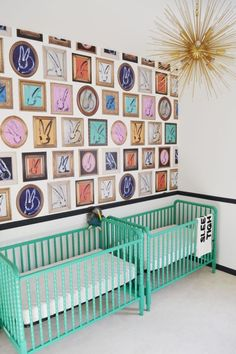 A Not-So-Neutral Twin Nursery This rabbit wallpaper looks amazing in this twin nursery featuring a p