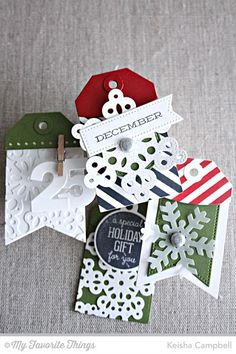 Christmas Labels and Tags stamp set and Die-namics, Pierced Snowflakes Die-namics, Snowflake Fusion Cover-Up Die-namics, Tag Builder Blueprints 2 Die-namics - Keisha Campbell #mftstamps