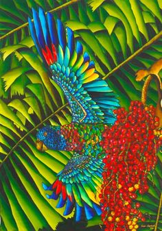 St. Lucia's Bird of Paradise ~ Silk Painting by Daniel Jean-Baptiste...This artist really inspires me...love the bright dyes!