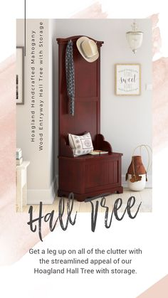 Who isn't guilty of draping a purse or coat across the nearest chair or staircase banister on their way through the door? Whether your entry is lacking in closet space or you just hate dealing with the hassle of hangers after a long day's work, a hall tree is just the solution to help keep your entry hall or mudroom free of seasonal messes. #halltree #mahoganywood #homedecor #decor #interiordesign #interior #entryway #furniture #storage