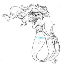 "Original sketches to Steve's new ""Art of Ariel"" collection from @DisneyStores This one is on a lot of product."