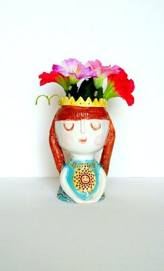 Face VASE, Solar Princess, ceramic vase,  room decor, modern living, succulent pot