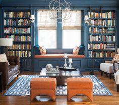 Window Seat - Lacquered Walls - Built-In Bookshelf - Home Organization - Interior Design