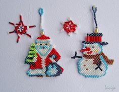 Santa, snowman and snowflakes from beads.