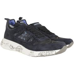 Premiata Sneakers (15215 RSD) ❤ liked on Polyvore featuring men's fashion, men's shoes, men's sneakers, dark blue, mens suede sneakers, mens suede shoes, mens lace up shoes, mens low top shoes and mens suede lace up shoes