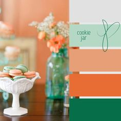 light and dark seafoam green, peach and orange...could add watermelon color