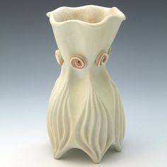 Pale yellow porcelain vase with burnt orange by robertapolfus, $165.00