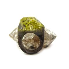 Charcoal Sparkle Moss Resin Ring  Eco Resin Nature by squidlicks, $23.00