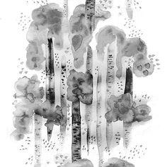 Design: BJÖRKAR (grey)  Designer: Louise Videlyck (Sweden) Manufacturer: Arvidssons Textil Composition: 100% Cotton Width: 140 cm Repeat: 260 cm