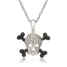 Sterling Silver Black and White Diamond Skull Pendant by Amazon.com Collection