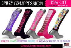Great custom compression socks for runners, cyclists, triathletes, crossfitters, nurses or anyone else on their feet or who needs compression.  Made in Hickory,NC.  Crazy Compression