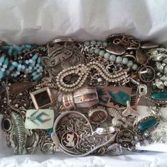 Jewelry Lot Box.Huge!Silvertone.& Silver. Costume And Better.Wearable.925 ring