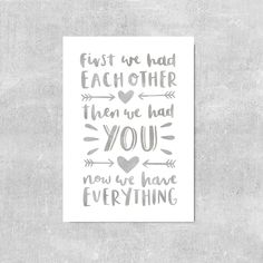 Gray Nursery Wall Art Baby Room Poster Watercolor Nursery Print First We Had Each Other Quote Gray Kids Room Print Grey Nursery Wall Decor by violetandalfie on Etsy
