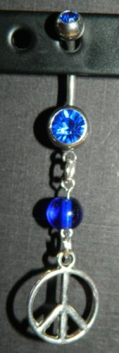 Blue Rhinestone Glass Beaded Peace Sign Belly Navel Ring New | eBay