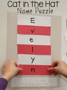 Seuss Cat in the Hat Name Puzzle Craft After reading The Cat in the Hat by Dr. Seuss kids can craft their own hat that spells their names!After reading The Cat in the Hat by Dr. Seuss kids can craft their own hat that spells their names! Dr. Seuss, Dr Seuss Week, Puzzle Crafts, Name Crafts, Dr Seuss Crafts, Preschool Activities, Preschool Kindergarten, Dr Seuss Preschool Art, Kids Crafts