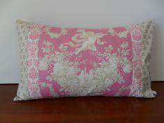 Housse de coussin ange, anglot, shabby chic, rose, blanc, doré, °2 : Textiles et tapis par michka-feemainpassionnement