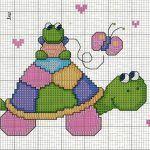 Ponto cruz gráfico de tartaruga Vejam que fofo esse gráfico de ponto cruz de tartaruga para bordar em fraldas. É um lindo gráfico infantil que pode ser utilizado em ponto cruz para bebês...