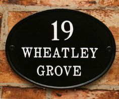 Contemporary oval sign in black with white letters. www.rockartisansigns.co.uk House Signs, English House, White Letters, Home Crafts, Decorative Plates, It Cast, Lettering, Traditional, Contemporary