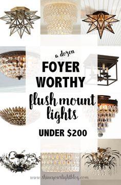 Foyer-Worthy Flush Mount Ceiling Lights - Shine Your Light Foyer, Diy Stairs, Lighting Makeover, Lighting, Lights, Foyer Ceiling Lights, Shine Your Light, Mercury Glass Diy, Ceiling Lights