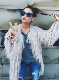 when @bycarolinegrace kills it... shop this fabulous fuzzy jacket in-store x online! #sfgirlgang