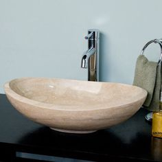Curved Oval Polished Travertine Vessel Sink on Platform - Polished Beige Travertine - Vessel Sinks - Bathroom Sinks - Bathroom Beige Bathroom, Guest Bathrooms, Bathroom Ideas, Bathroom Furniture, Vessel Sink Bathroom, Sink Faucets, Glass Bowl Sink, Powder Room Decor, Powder Rooms