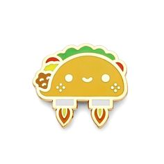 """Explore the cosmos with the space taco kawaii lapel pin! - 1"""" x .8"""" - Hard enamel - Butterfly clutch backing"""