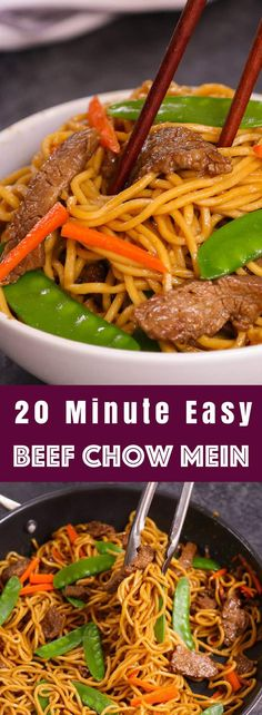 ThisBeef Chow Mein is a quick and easy one pot meal loaded with tender beef, flavorful vegetables and fried noodles. It comes together in just 20 minutes for a delicious weeknight dinner the entire family will love... #BeefChowMein