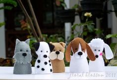 Digital Pattern: Dogs Felt Finger Puppets by FloralBlossom on Etsy
