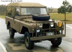 This is an Australian army landy: the large extra grille mounted on the bumper is a protection against the huge number of kangaroos which have a habit of not sticking to road safety regulations and crossing any road at any time, especially at night.