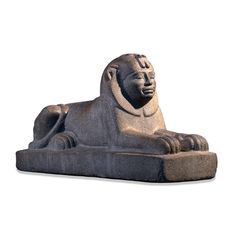 "LATE EGYPTIAN: Taharqo as a sphinx, from Temple T, Kawa, Sudan, Dynasty XXV, ca. 680 BCE. Granite, 1' 4"" X 2' 4 3/4"". British Museum, London. Although the basic form of this sphinx is Egyptian, several features set it apart. Most striking are the facial features of the king which leave no doubt that he is an African. The Kushite kings were proud of their ancestry and chose to be buried in Kush near their religious centre at Jebel Barkal."
