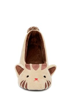 Style Deals - A pair of slippers featuring an embroidered cat face with 3D ears, pom-pom accent on the back, and a ballet flat silhouette.