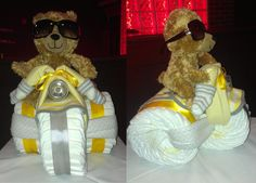 Yellow and Grey Tricycle Diaper Cake