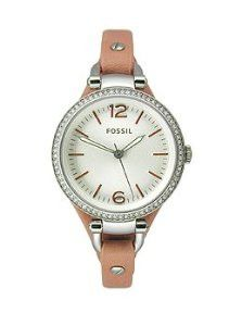 Fossil Georgia Three-Hand Leather - Pink Women's watch #ES3468 : Dress watch, Japanese quartz movement, Matte silver-tone hands with luminous accents, Matte silver-tone sweep seconds, Applied polished