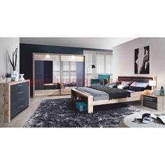 Spálňa, skriňa+posteľ+2ks nočné stolíky, DTD fóliovaná, buk/grafitová sivá, CAIRO
