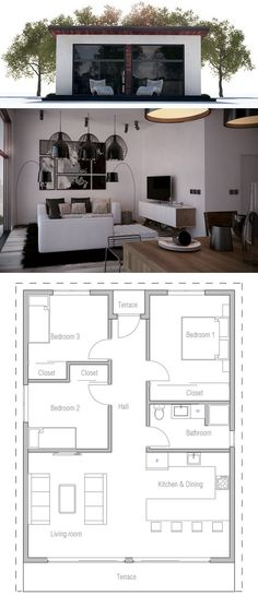 New Home Construction Plans floor plan for a small house 1,150 sf with 3 bedrooms and 2 baths