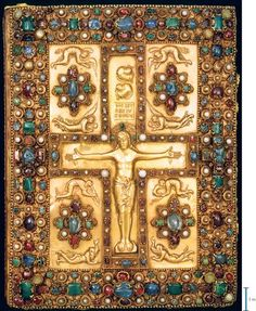 Lindau Gospel  (Front Cover)  Circa 880  --  Gold, pearls, sapphires, garnets, & emeralds  --  Written & illuminated in the Abbey of St. Gall, Switzerland, possibly by the scribe, Folchard, who also may have been the artist.  It contains four title & four incipit pages in gold on vellum stained purple, twelve canon tables on purple backgrounds, lettered in gold & silver, 2 carpet pages.  Belonging to the Pierpont Morgan Library, New York.