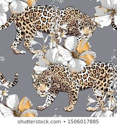 Immagine vettoriale stock 1506017885 a tema Seamless Floral Pattern Gold Jaguar Hibiscus (royalty free) Jungle Cat, Hibiscus Flowers, Textiles, Gray Background, Portfolio, Jaguar, How To Draw Hands, Sketches, Hand Drawn