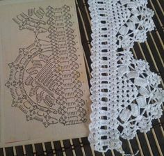 crochet piece in picture is NOT the pattern. Similar but not exact. The centers are different. Crochet Edging Patterns, Crochet Lace Edging, Crochet Motifs, Crochet Borders, Doily Patterns, Crochet Diagram, Crochet Chart, Thread Crochet, Crochet Trim