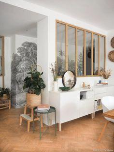 ilaria fatone x rebel walls - panoramic wallpaper in hallway Living Room Grey, Living Room Interior, Home Living Room, Hallway Wallpaper, Study Room Design, Loft Room, Interior Inspiration, Sweet Home, New Homes