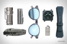 Super x Andy Warhol Iconic Sunglasses ($261). P-51 Can Opener ($3). Bell & Ross Blue Ceramic Watch ($4,500). Olight S1 Titanium Flashlight ($90). Kershaw Cryo Knife ($27). EDC Waterproof Peanut Lighter ($18)....